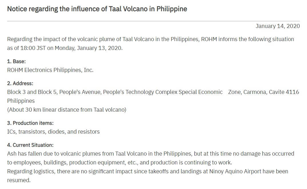 ROHM Semiconductor issues notice regarding the influence of Taal Volcano in Philippine-SemiMedia
